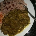 Curried Goat and Rice and Peas
