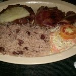 Grilled Pork Chops and Rice and Peas