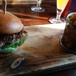 Pulled Beef Burger House Smoked & Spiced with Pickled Onions & Habanero Sauce