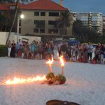Marco Island South Beach Marriott fire dancer at sunset