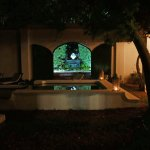 Shared pool and garden at night