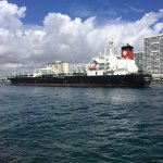 Freighter entering Ft. Lauderdale on the way to Port Everglades