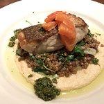 Fresh rockfish with wheat berry pilaf, celeriac purée, kale, fennel, cava orange, and salsa verd