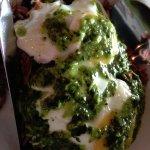Carbonara Eggs Benedict with pesto sauce