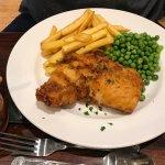 Beer battered cod, chips & peas £9.95-no taste of beer