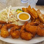 Coconut Shrimp with wedges and cole slaw