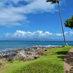 View of Molokai along one of our oceanside walkways.