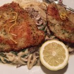Milanese- Breaded Chicken, mushrooms, spinach linguine in Alfredo sauce
