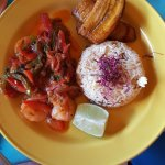Camarones Criollos Creole-style prawns sautéed in a light tomato sofrito with cilantro, peppers,