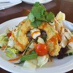 Grilled calamari Salida w/tempura avocado