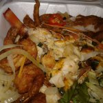 Escovitch (Red Snapper), Lobster, Shrimp and salad