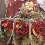 Fish tacos(blacked), fish and chips, kids mac n cheese.   Tons of food, all delicious.   Just a