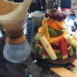 Huge fruit plate and filter for Geisha coffee