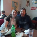 My friend and I eating at Gere-Delis