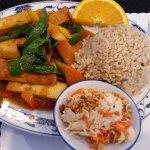 Tofu dish with brown rice