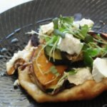 Roasted vegetables on puff pastry