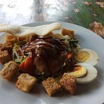 A good sized serve of gado gado (27,000 Rp = 5,000 Rp for rice) Quality ingredients - just no ta