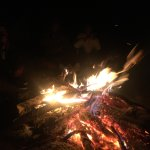 The camp fire while it was windy and freezing cold