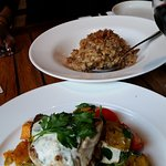 snapper with pumpkin main & duck risotto entree