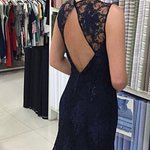 Fishtail gown with a subtle open back