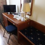Desk with minibar, TV and kettle