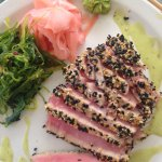 sesame-encrusted seared tuna, fresh from the sea.