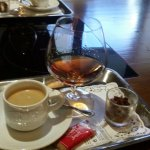 Coffee and brandy to complete the meal