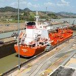 Ship Transiting the Miraflores Locks on the Panama Canal