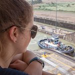 Tug boat in the Miraflores Locks on the Panama Canal