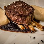 Filet de bœf with racines de persil au beurre noisette, white asparagus and a sauce of port and