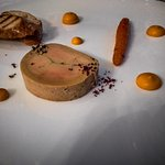 Foie Gras Mi-cuit Eléonore, wiht fine créme carottes and walnut oil dusted with a red wine sea s