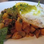 Pork hash and fried egg