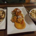 lobster stuffed mushrooms, BBQ shrimp, lobster mac-n-cheese