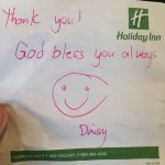 Sweet note from housekeeping.