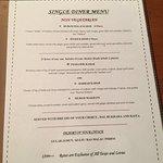 single diner menu for lunch.