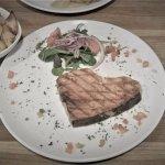 freezer-burnt swordfish, salt all over the plate, stale roasted potatoes, bland fish.