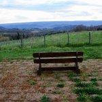 The famous bench with Orvieto in the background.