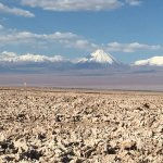Licancabur (an extinct volcano) across the Salt Flats