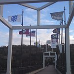 View of the flags of the surrounding cities that are represented on the bridge.
