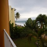 "Looking to the chain-link fence to the left of our ""deluxe"" ocean view room."