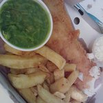 Fish supper meal (comes with the mushy peas and tartar sauce)