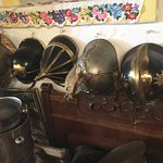 Collection of old military helmets