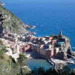 View of Vernazza from trail to Monterossa al Mare