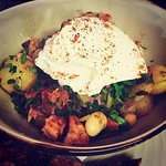 Ham hock and chorizo hash with butter beans served with artisan sourdough and a perfect poached
