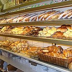 large selection of rols, bagels, coffee cakes