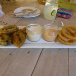 poblano and onion rings with hot garlic dip