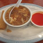 Hot and sour soup with spring roll