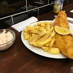 Bailey's fish and chips with slaw