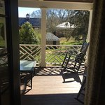 Our view. The porch overlooking the picturesque grounds of the Inn.