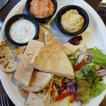 Toasted Pitta breads with selection of homemade dips